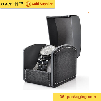 KID single luxury with pillow black red custom PU leather watch box