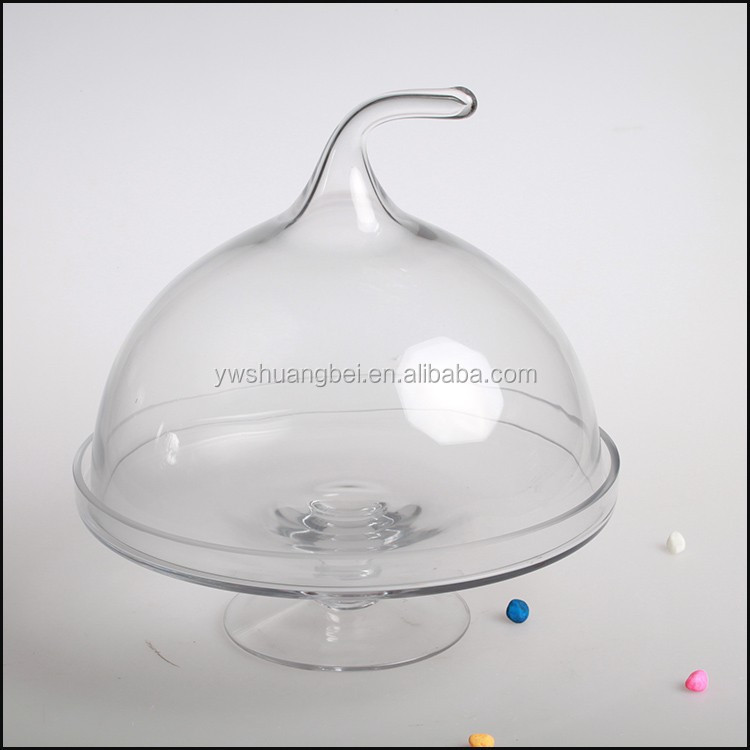 Wholesale Round Dome Cover With Footed Glass Cake/Fruit/Butter Plate With Cover/Lid
