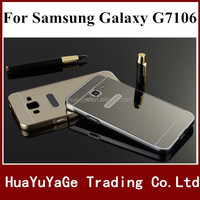 Aluminum Metal Bumper + Mirror PC back phone cases cover for Samsung Galaxy Grand 2 G7106