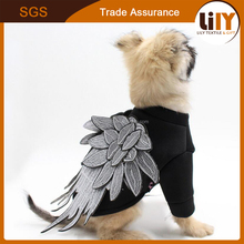2017 new fashion dog and cat clothes black t shirt with wing for wholesale
