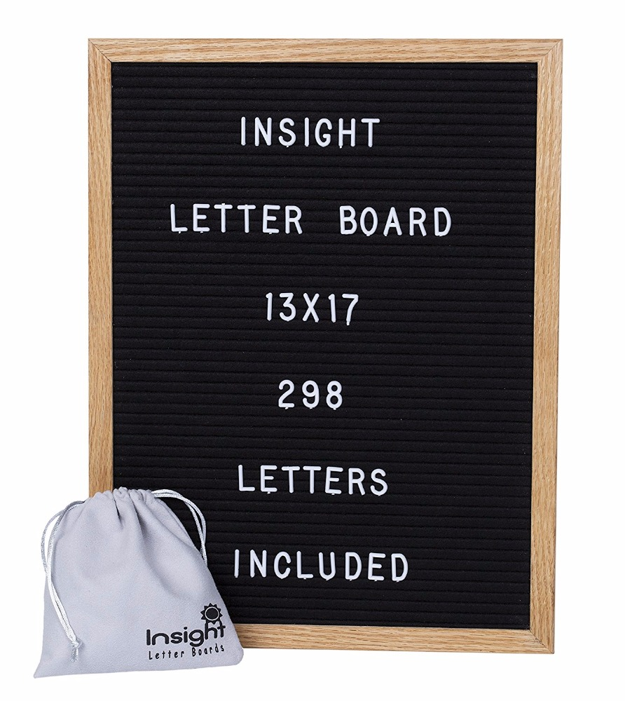 12X18 Black felt Letter Board Set with <strong>white</strong> letters to display