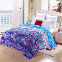 1 Ply Oversized Knitted Flower Super Soft Plush Flannel Throw Blanket Bed Cover