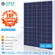 High quality 156*156mm Polycrystalline 285W 280watts solar panel price