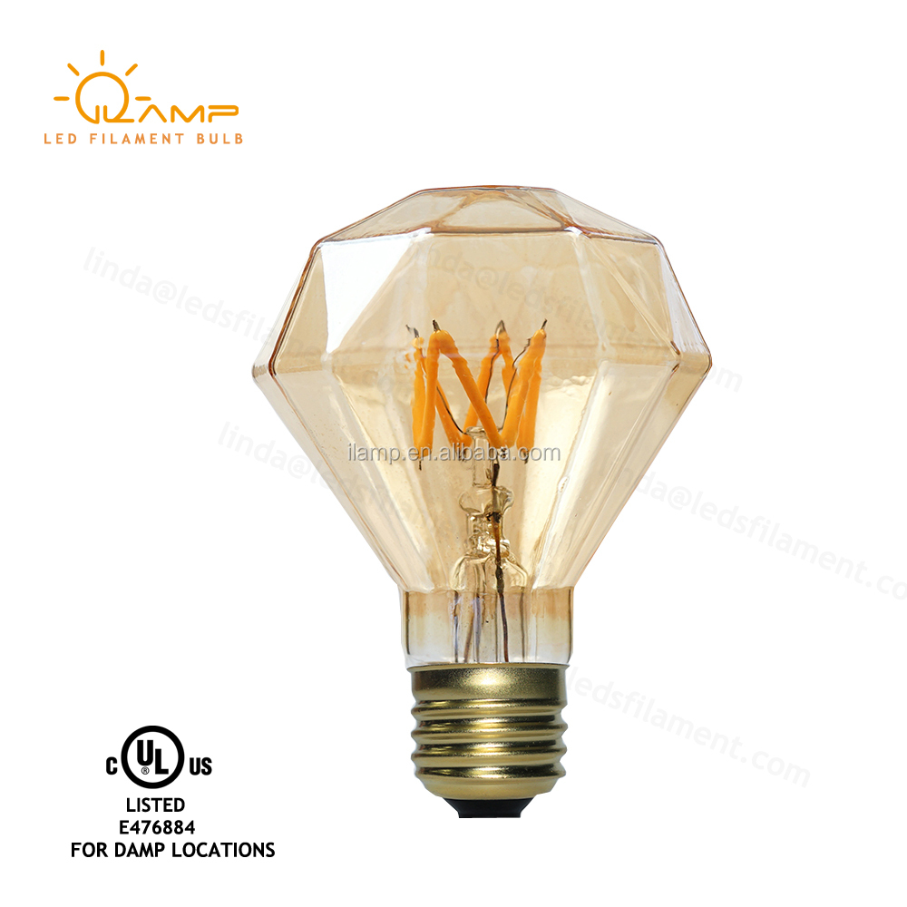 Quality Level flat diamond led vintage filament bulb warm white 2700k with e27e26 socket