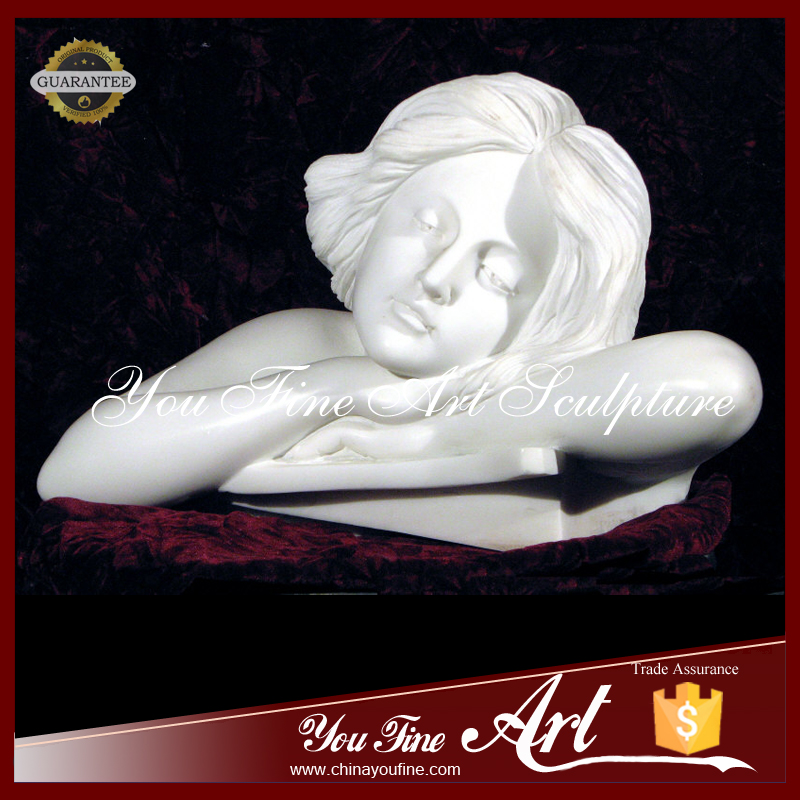 White Marble Sleeping Stone Children Statues For Sale