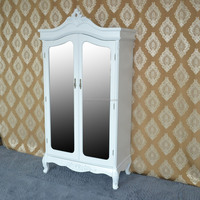 White MDF cheap price wooden wardrobe with 2 doors and mirror