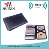 Black leather magic wallet PU leather money clip with RFID cards slot design