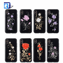 Luxury Gold Chrome Laser Plating Floral Roses Flower Black Pattern TPU Silicone Mobile Cell Phone Cases Covers For iPhone X