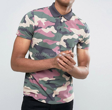 2017 Wholesale Customized Sublimation Camo Print Short Sleeve Polo T Shirt