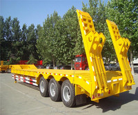 Manufacturer 80Ton long vehicle Heavy Duty Transportation width extendable flat low boy trailer