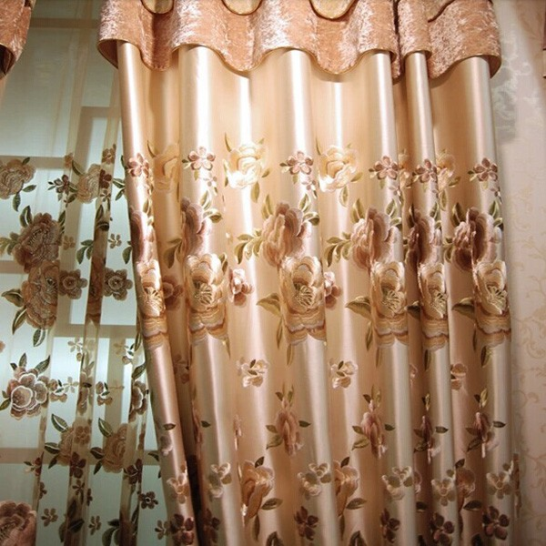 High-end Luxury Style Embroidery Silk Curtain Ready Made Curtain