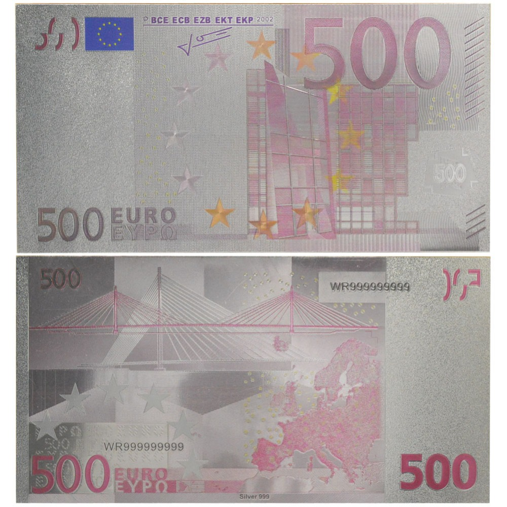 Hot Selling Product colorful 500 Euro Banknote Silver Plated Paper Money