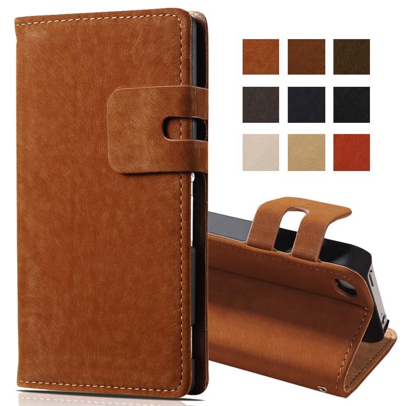 Soft Feel PU Leather Wallet Case for iPhone 4 5 6 4S Phone Bag with Stand and Card Holder Luxury Flip Cover Beige White Brown
