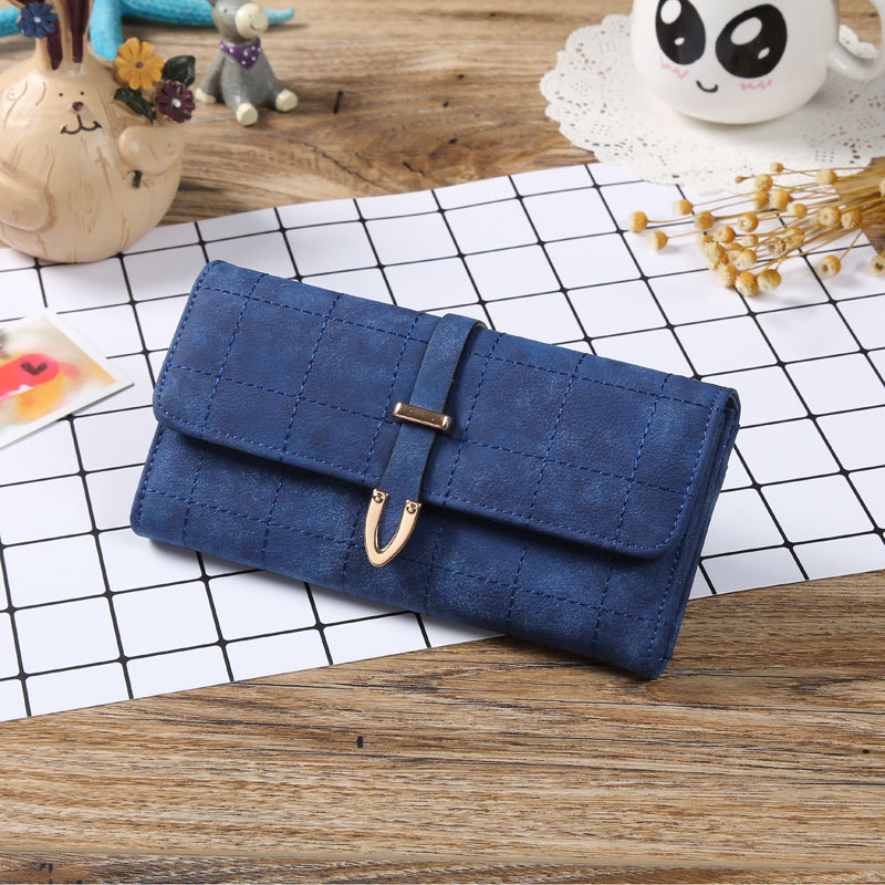 Top Fashion Grid Design Big Capacity Ladies Elegant Purse Money Clip Card Holder Clutch Bag Leather Women <strong>Wallets</strong> Hot Sales 2017