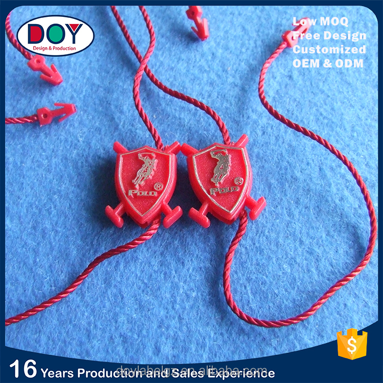 China Supplier Custom Garment Plastic Hang Seal Tag String Loops for Clothing