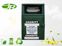 Charity mental clothing bin for used shoes clothes