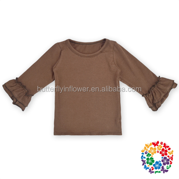 Clothing Suppliers For Boutiques Long Sleeves Ruffle Knit Cotton Shirts Baby Girl Clothing Wholesale Blank T Shirts