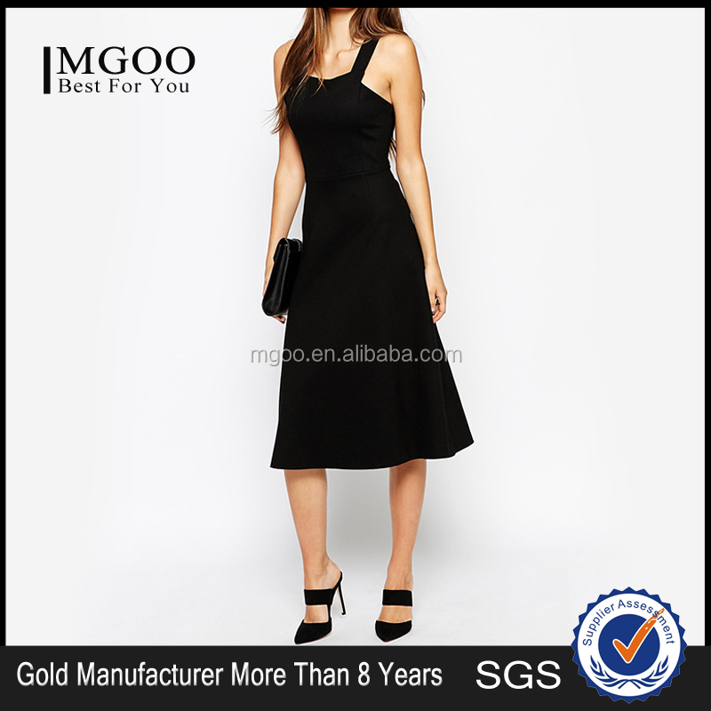 MGOO Wolesale Low Price OEM/ODM Fashion Knee Length Dress Sleeveless Bandage Dress Black Party Gaun #25206099