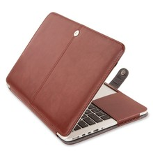 High Quality Logo Custom Leather flip protective Cover Case for Macbook Pro Retina 15.4 inch