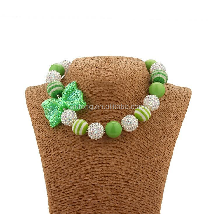Princess Girls St. Patrick Day Necklace Trolls Green Beads With Rhinestone Bow Bubble Gumball Chunky Necklace