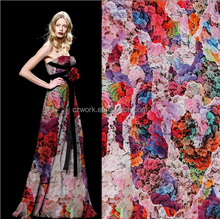 Print your designs with MOQ 50m polyester satin chiffon taffeta fabric for dress, cloth
