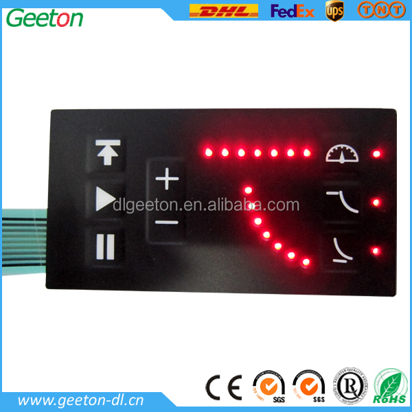 Waterproof 3M Adhesive Embossed Membrane Keyboard with Red LEDs Embedded
