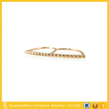 Longlive s925 18k gold diamond chain ring gemstone party ring