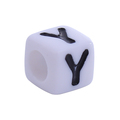 "Acrylic Beads Square White Initial Alphabet Letter "" Y "" Black Enamel"