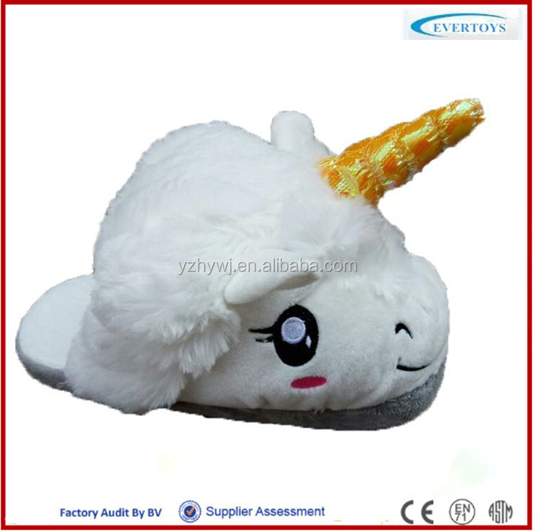 2016 hot selling beautiful myth plush unicorn slippers