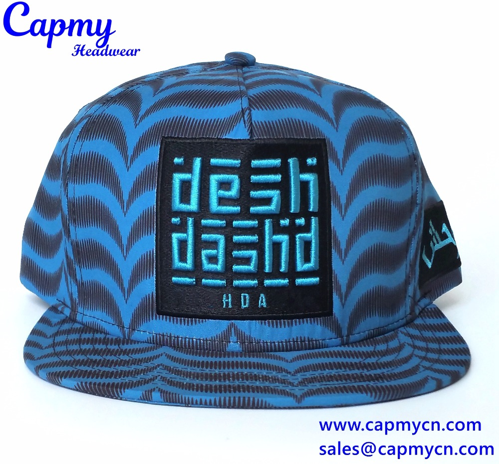Custom leather strap hat in full printing snapback cap style