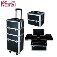 Women Fashion Professional 4 in 1 Aluminum Makeup Case With Legs