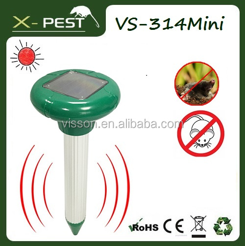 X-pest VS-314 Mini 100% weatherproof Cheap garden solar ultrasonic power pest mole mouse rodent mice pest repeller chaser trap