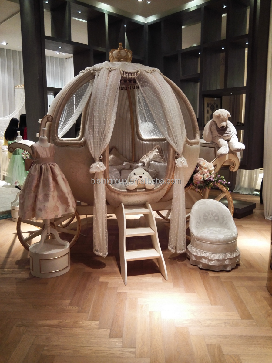 European castle bed design Cinderella pumpkin coach bed/Luxury ivory and golden princess carriage children bed - BF07-70299