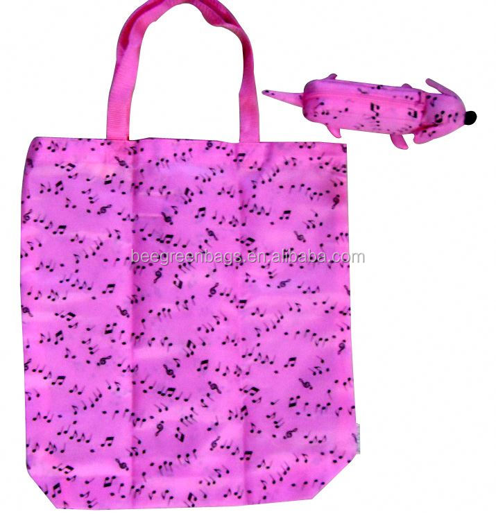 promotion 190T Nylon custom reusable folding shopping bags with dog shape pouch