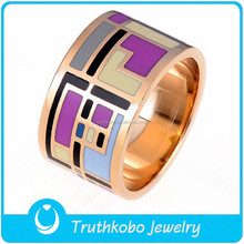 Rose Gold Plating Enamel Ring Stainless Steel Metal Enamel Women Ring Set