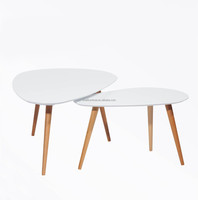 mdf modern nesting leaf shaped coffee table with solid wood legs