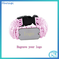 Metal pink plastic clasp products paracord survival dog tag bracelet
