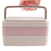 Green Eco-friendly Bento Food Storage Container 3 Layers Wheat Straw Biodegradable Lunch Box