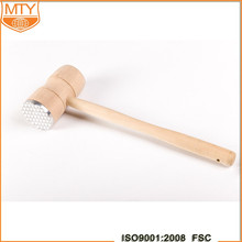 Multifunction Kitchen Tool Large Wooden Metal Teeth Meat Hammer Mallet Steak Tenderiser Masher