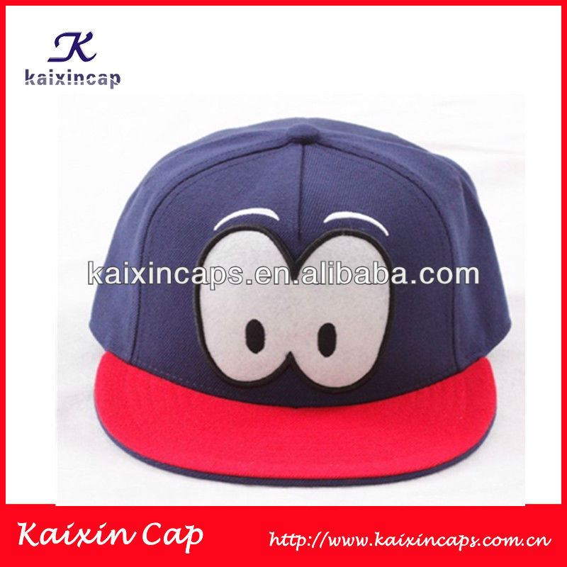 Kid's snapback cap with cute eyes embroidery on front mix-tone can put your own logo