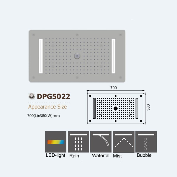 304 stainless steel more function concealed ceiling top double rain shower DPG5022