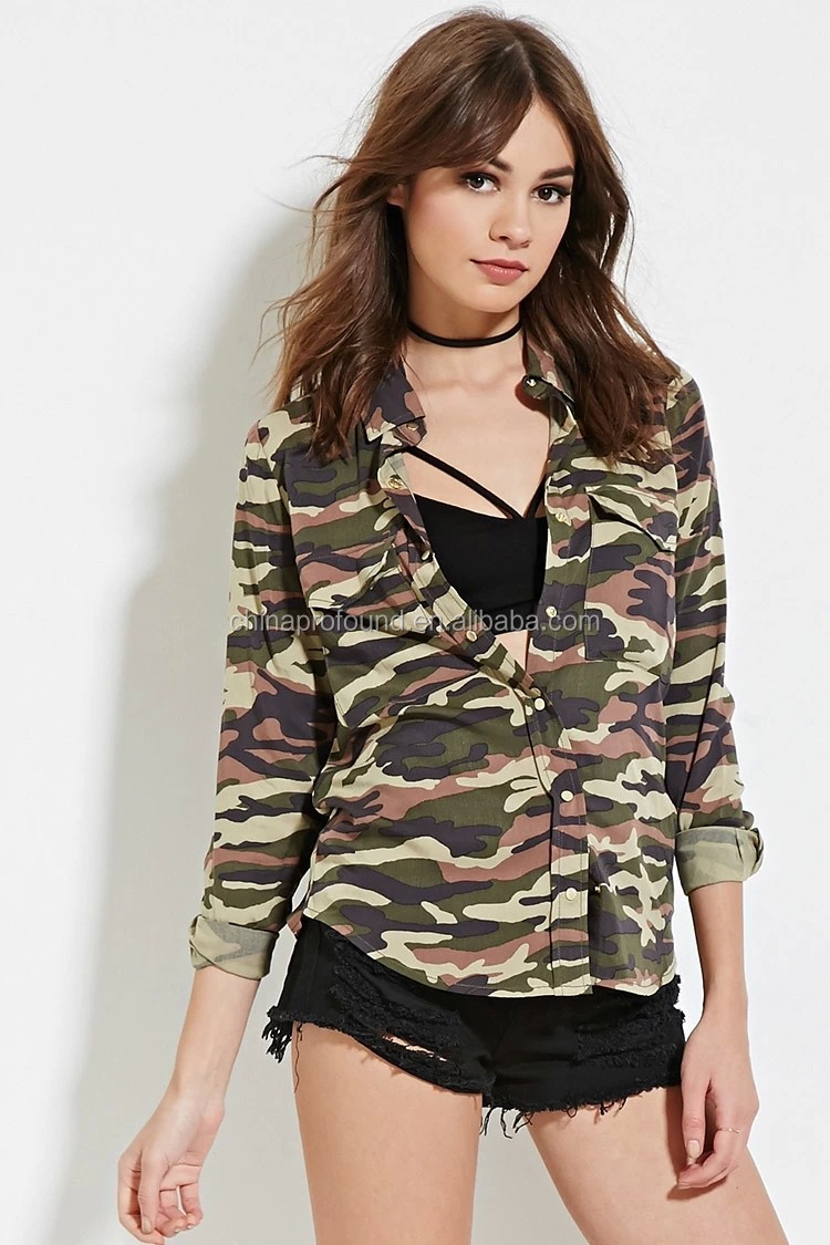 Hot wholesale clothing design ladies fancy long sleeve camo shirt