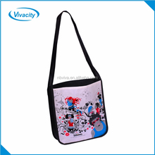 Fashion recyclable promotional custom printed long strap shoulder non woven shopping blank handbags tote bag