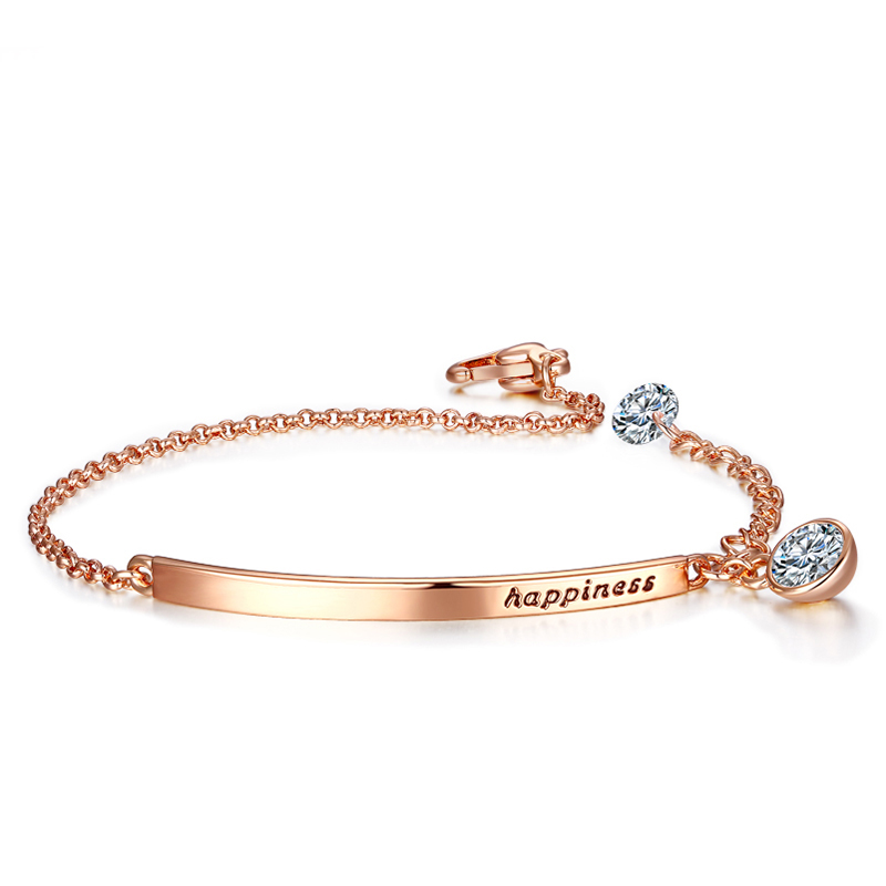 Top Quality OL Style Cubic Zirconia Rose Gold Color Bracelet Jewelry Austrian Crystal Wholesale Bracelets