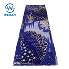 Royal Blue Embroidery Beaded Tulle Bead French High Quality African Lace Fabric