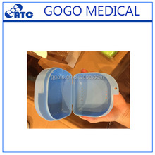 Dental colourful plastic denture storage retainer box with slot/false teeth container with a mirror