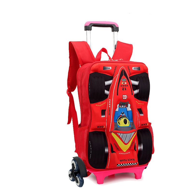 Popular 3D cartoon transformers child wheeled backpack kids trolley school bag