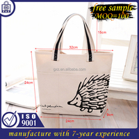 Free sample low minimum order personalized fashion lady hand tote canvas bag