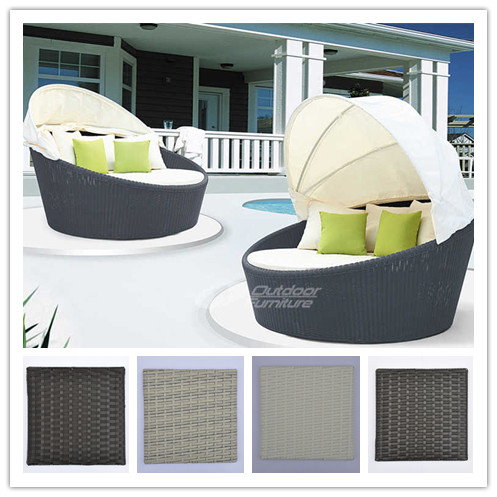 Beach Sunbed Round Sunbed with Canopy Rattan Outdoor Furniture
