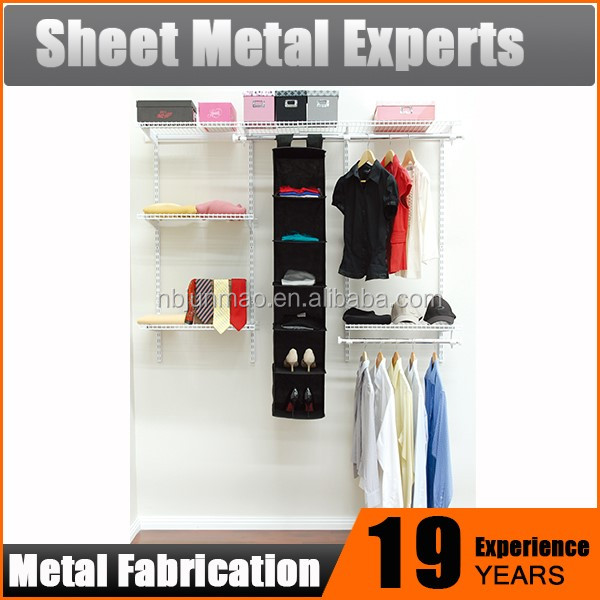 Metal DIY Bedroom Furniture Wire Hanging System for Clothes Storage